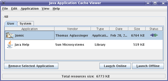 The Web Start application launcher allows to run Jomic without going to the web site.